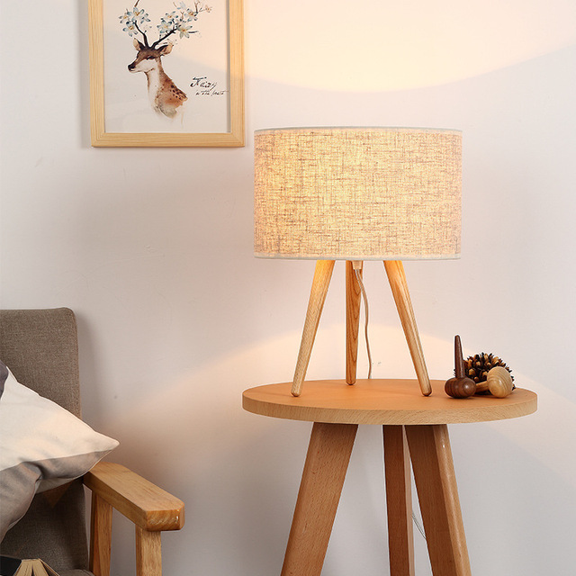 Tuda Free Shipping Tripod Wooden Table Lamp Simple Modern Table Lamp