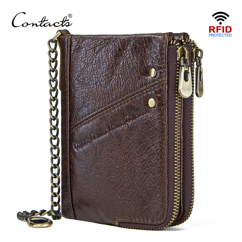 CONTACT'S Genuine Leather Wallets For Men RFID Short Wallet Zipper Men's Small Coin Purse Male Portomonee Card Holder Man Walet