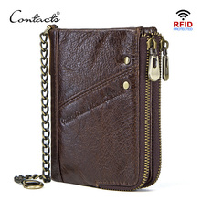 цена на CONTACT'S genuine leather wallets for men RFID short wallet zipper men's small coin purse male portomonee card holder man walet