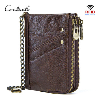 CONTACT'S genuine leather wallets for men RFID short wallet zipper men's small coin purse male portomonee card holder man walet vintage rfid wallets 100% genuine leather men short wallet for cards male coin purse card holder pocket double zipper design