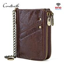 CONTACTS oryginalne skórzane portfele dla mężczyzn RFID portfel zipper męska mała portmonetka mężczyzna portomonee posiadacz karty człowiek walet