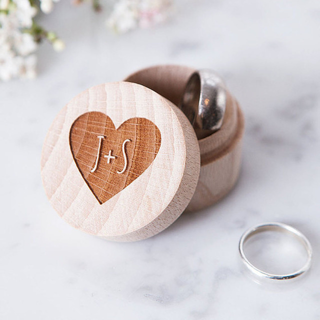 Rustic Wedding Ring Bearer Box Personalized Decor Customized Gifts