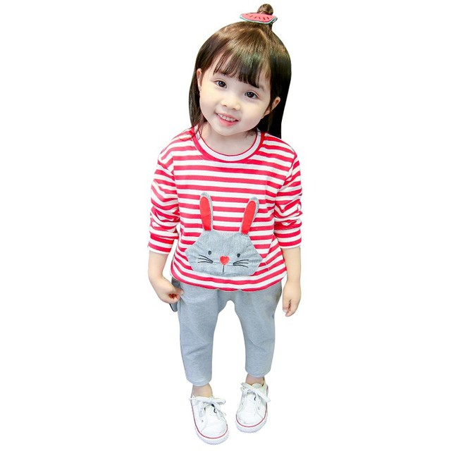 f7ffdabd62cec Autumn Girls Clothes Cartoon Long Sleeve Printed Sweater + Pants Kids  Clothes Girls Sport Set For
