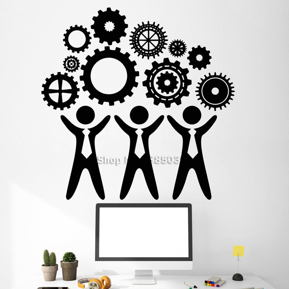 New Arrival Vinyl Wall Decal Teamwork Office Decor Worker Gear Stickers Office Room Wall Sticker DIY Removable Unique Gift LC514