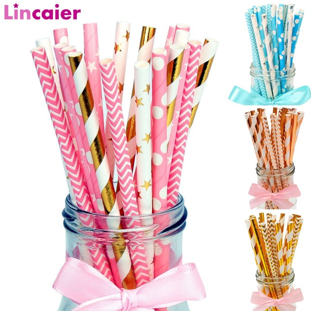25Pcs Rose Gold Striped Paper Drinking Straws Disposable Party Tableware Birthday Decoration Kids Wedding Supplies