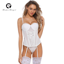 Minifaceminigirl Push Up Corsets Bustiers Women High Quality white Lace Sexy Lingerie 2018 New Firm Overbust Lace Up Corset 2XL high quality openwork lace black spandex corsets garters for women