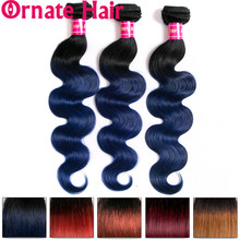 Ombre Body Wave Bundles 100% Human Hair Extension Ombre Colored Brazilian Hair Weave Bundles Ornate Hair Non Remy Hair Bundles 1 pcs boutique body wave ombre women s 6a virgin chinese hair weave
