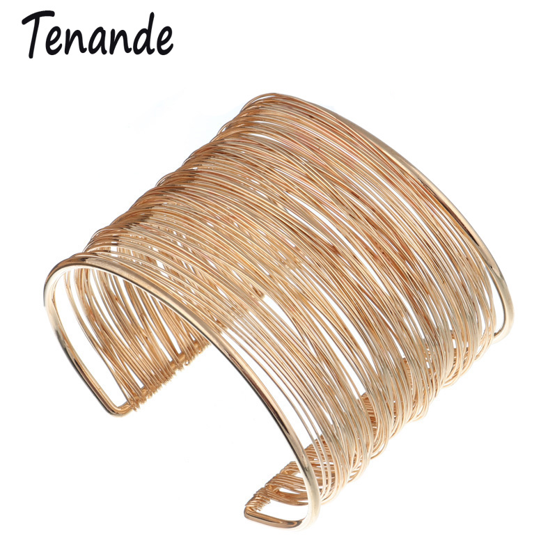Tenande Punk Big Statement Hollow Alloy Multi Layer Wide <font><b>Bracelets</b></font> & Bangles for Women Jewelry Accessories Wristbands Gifts image