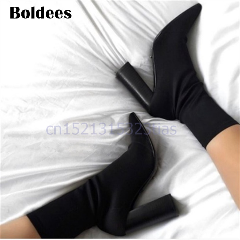 2018 Sock Stretch Fabric Ankle Boots Women Fashion High Heel Shoes Sexy Ladies Black Women Boots Slip On Pumps Mujer slip on winter boots stretch lycra