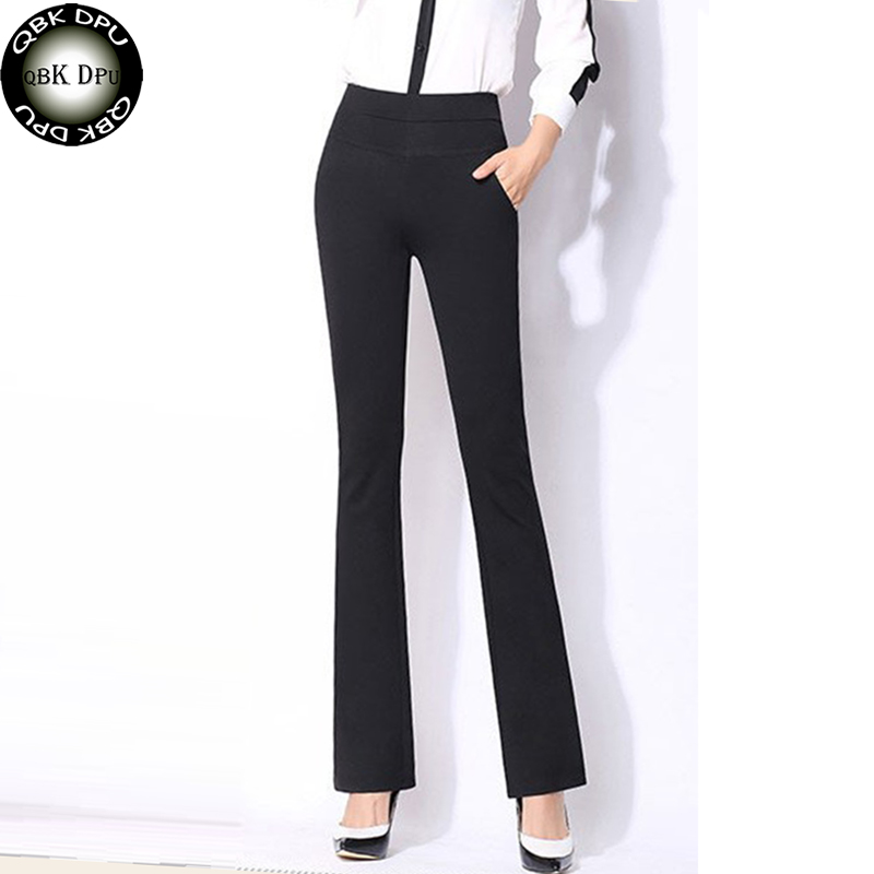 Mon's Office flare   pants   2019 New Arrival Sexy Slim High Waisted Work   Wide     Leg     Pants   Formal Elastic Big Size Trousers Women 4XL