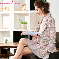 2018 Для женщин рукав «фонарик» lurex tweed куртка V шеи одной кнопки офисные женские корейские жемчуг бизнес шерстяная куртка пальто