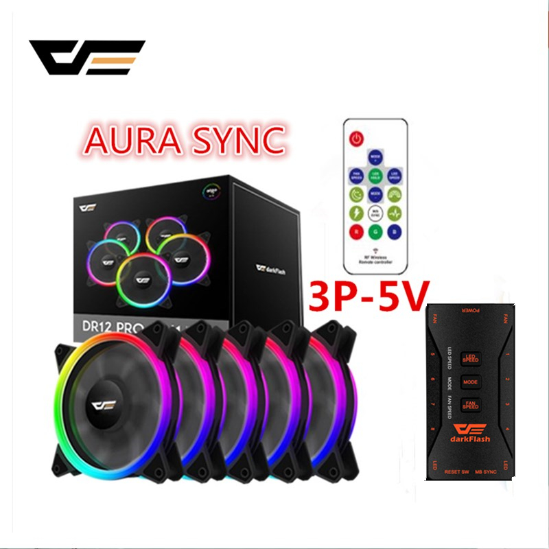 Aigo DR12-Pro 3 P-5 v AURA SYNC PC ordenador ventilador de refrigeración RGB ajustar LED 120mm Quiet + IR ordenador remoto de enfriamiento del refrigerador RGB ventilador de caja