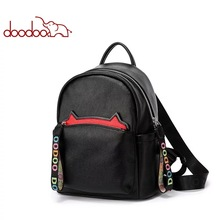 DOODOO Women Black Leather Backpack for Girls Drawstring Schoolbag Casual Daypack
