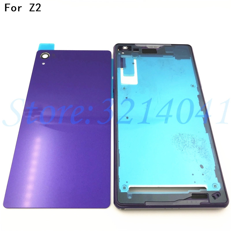 reputable site 40cc9 ae57a Original Full Housing LCD panel Middle frame case Battery door cover Side  button For Sony Xperia Z2 L50w D6503 D6502 With Logo