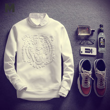 Men Beige Solid Tiger Print Sweatshirt Mankind Clothes 2019 Fashion