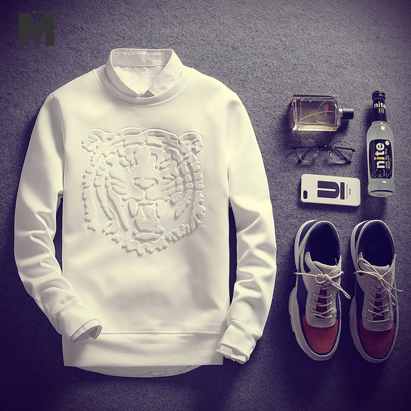Men Beige Solid Tiger Print Sweatshirt Mankind Clothes 2019 Fashion Casual Autumn Long Sleeve Male Clothing Mens Pullovers