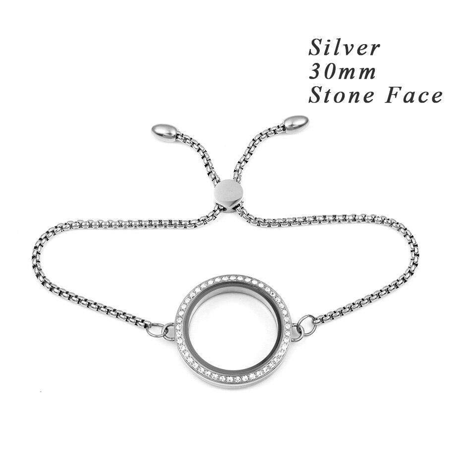 Carvort Плавающие Подвески прозрачный стеклянный медальон с камнем браслет 316L из нержавеющей стали крученый винтовая подвеска с регулируемой цепочкой - Окраска металла: 30mm silver stone
