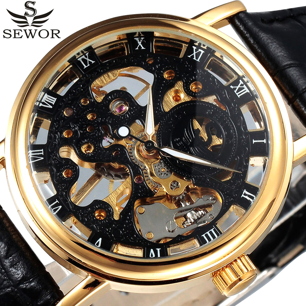SEWOR Royal Carving Black Gold Skeleton Mechanical Watches Leather Strap Thin Dial Men Luxury Brand Clock Relogio Masculino sewor classic hollow dial clock fast