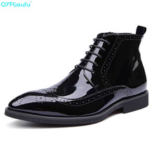 Fashion Mens Ankle Boots Genuine Leather Brogue Chelsea Black Pointed Toe Patent Men Dress Shoes