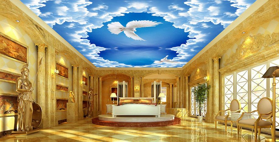 Excellent Wallpaper For Ceilings Custom 3D Wallpaper Walls Blue Sky Ceiling Largest Home Design Picture Inspirations Pitcheantrous