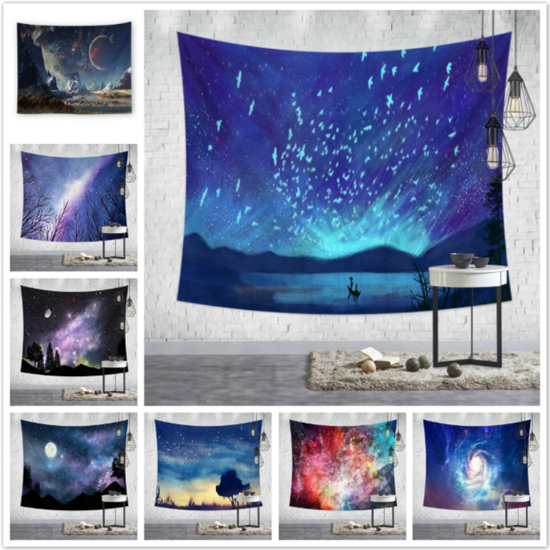 Wall Tapestry Hanging Uphome Planet with Earth Moon and Mountains Pattern Light-weight Polyester Fabric Wall Decor TapestryWall Tapestry Hanging Uphome Planet with Earth Moon and Mountains Pattern Light-weight Polyester Fabric Wall Decor Tapestry