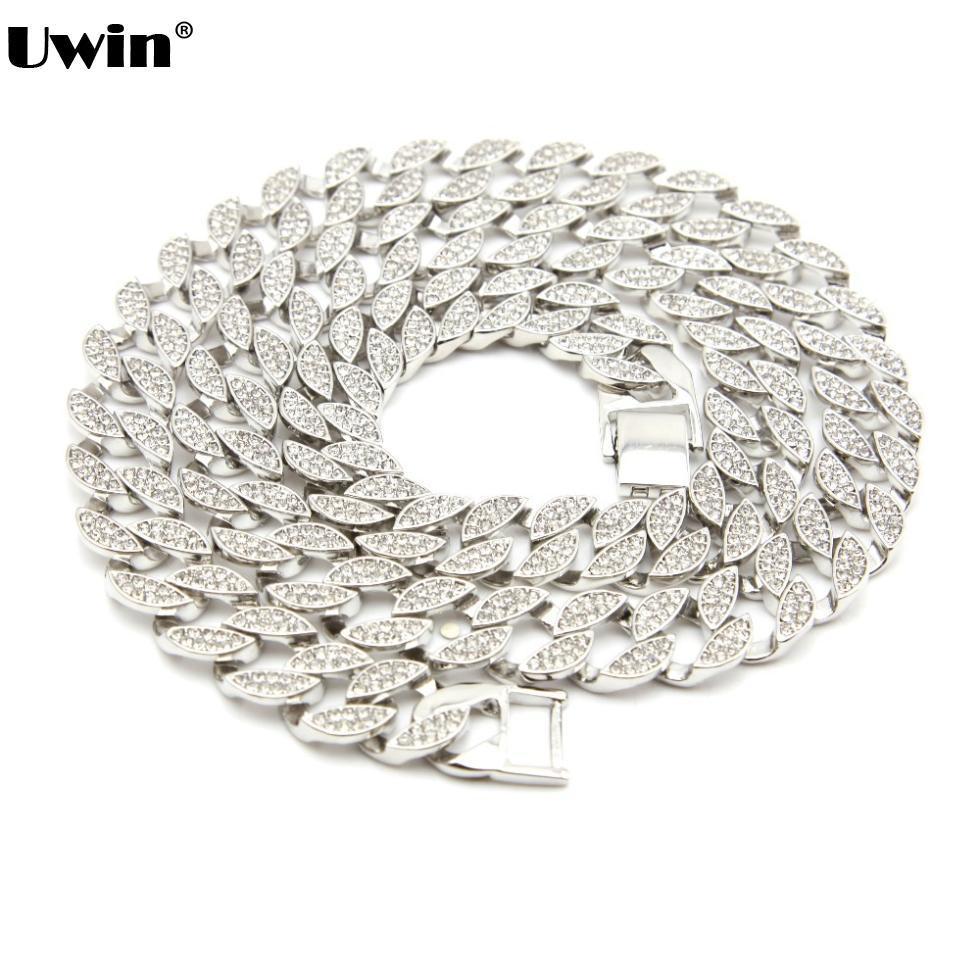 Mode hommes plein glacé couleur argent/or Miami cubain Hip Hop lien & Chian Bling Bling collier 30 pouces chaud Promotion collier