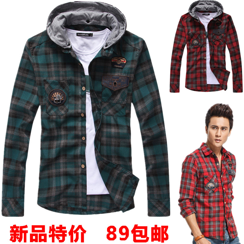 2013 men's autumn clothing long sleeve with a hood male plaid ...
