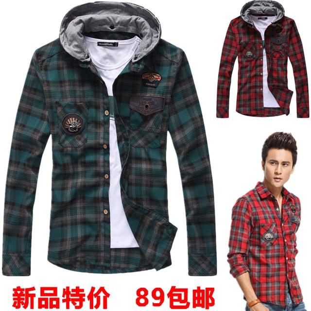 948b8ee1 2013 men's autumn clothing long-sleeve with a hood male plaid shirt cap  shirt fashion SEMIR