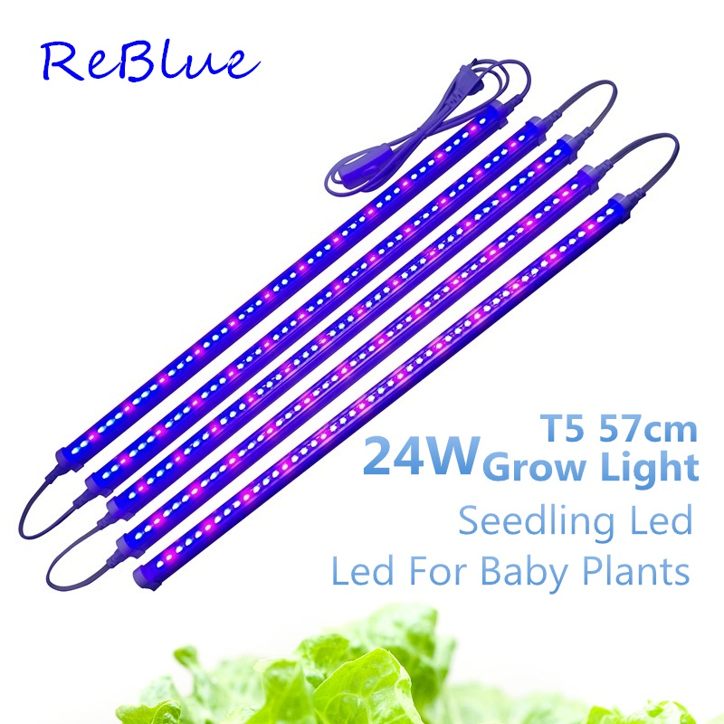 ReBlue Grow Light Fitolampy Phyto Lamps Plant Light 57cm 24W T5 Led Grow Light Full Spectrum Grow Led For Plants Flower Aquarium