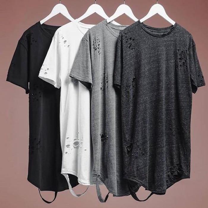 2017 verão clássico simples arranhões buraco fazer velho tornar coringa longo TEE camisa de manga curta T-shirt Longo cor sólida pura rua