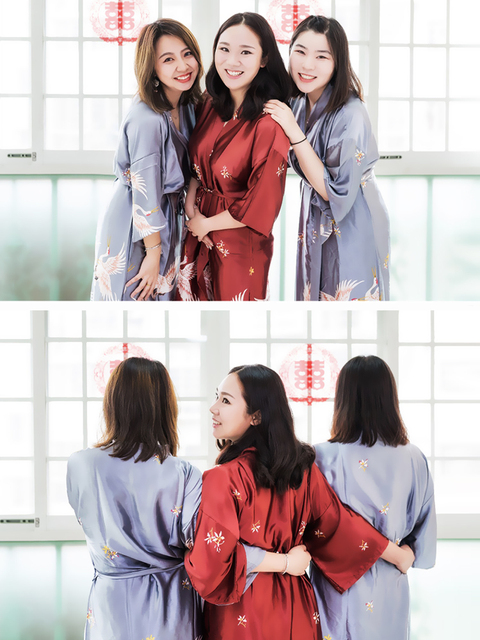 Hot Sale Black Summer Satin Kimono Bathrobe Women Bride Bridesmaid Wedding Robe Dress Gown Sexy Flower Long Sleepwear M-2XL 6