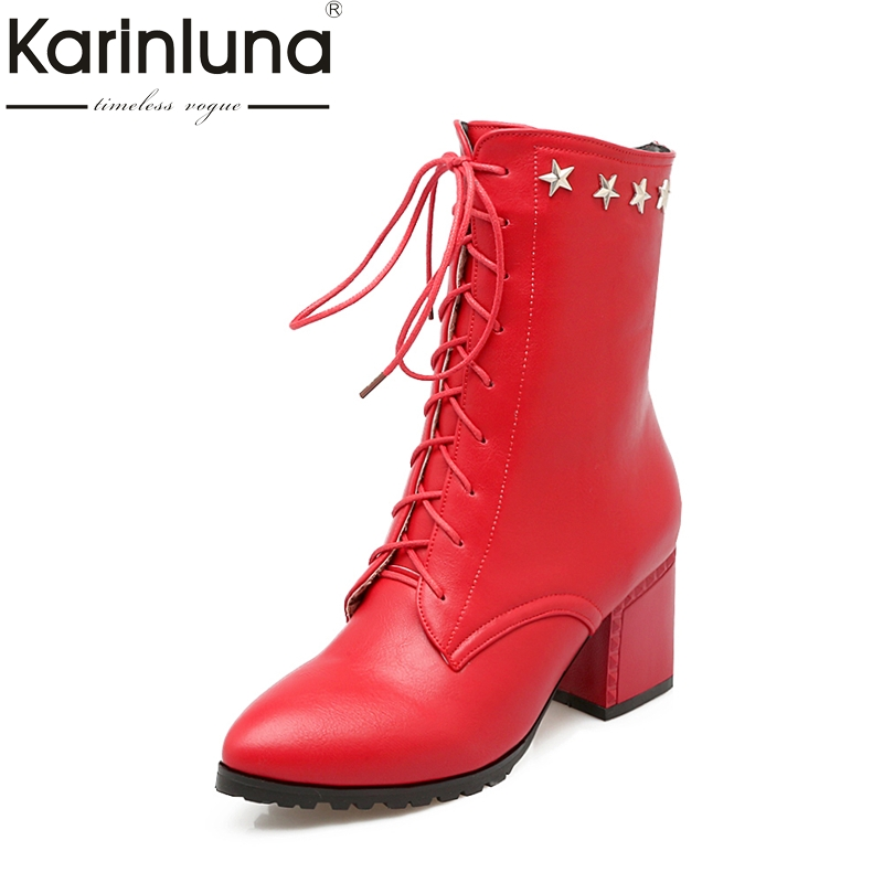 KARINLUNA New Arrivals Large Size 32-49 Lace Up Stars Women Shoes Fashion Square Heels Winter Shoe Woman Boots Add Plush 2016 new fashion sexy shoes fretwork lace up spike high heels large size shoes woman sandals sapatos gladiator shoe melissa