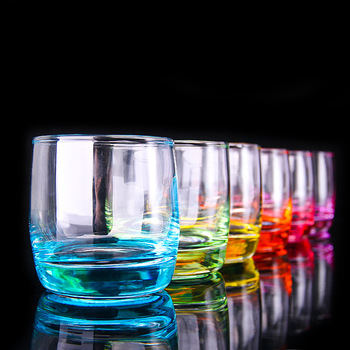 New! Creative Color Intrigue Household Crescent Cool Juice Cup Colour Lead-free Crystal Cup Set 6pcs