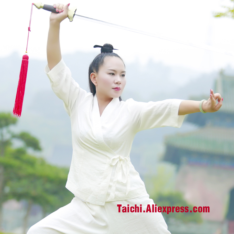 цена на Wudang Tai Chi Clothing Female Uniforms Surplices Hanfu Ramps Wushu Taiji Exercise Linen Skirt+pants