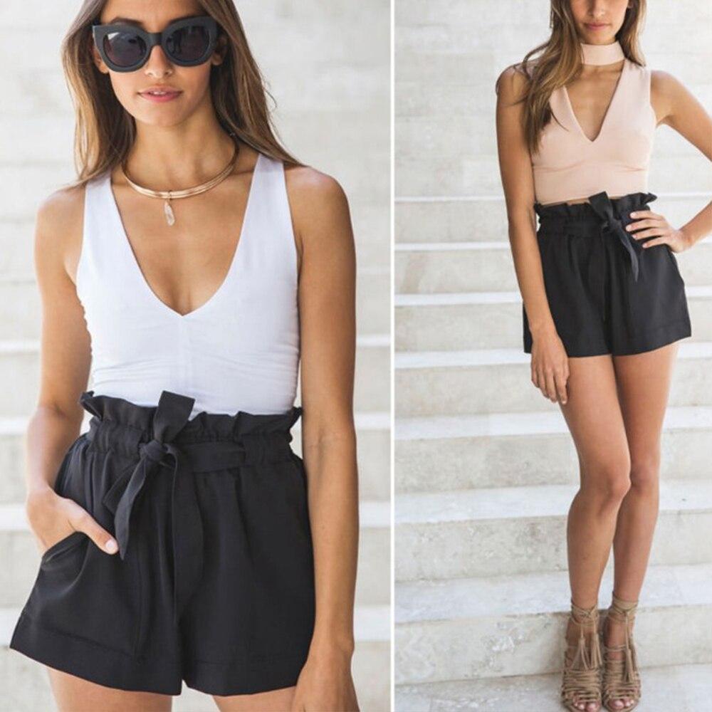 Belted Ruffle Waist Solid   Shorts   Women Casual Loose A Line Beach Summer   Short   Black White Elastic Streetwear Wide Leg   Shorts