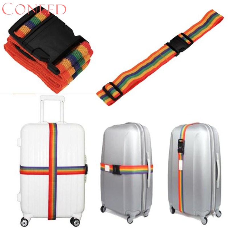 CONEED Drop Ship 2017 New Bag Luggage Suitcase Bag Accessories Straps Baggage Rainbow Belt Adjustable Juy26x