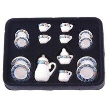 15pcs 1 12Dollhouse Miniature Thumbnails Puppet Porcelainous Ceramic Tea Set Tableware Toy