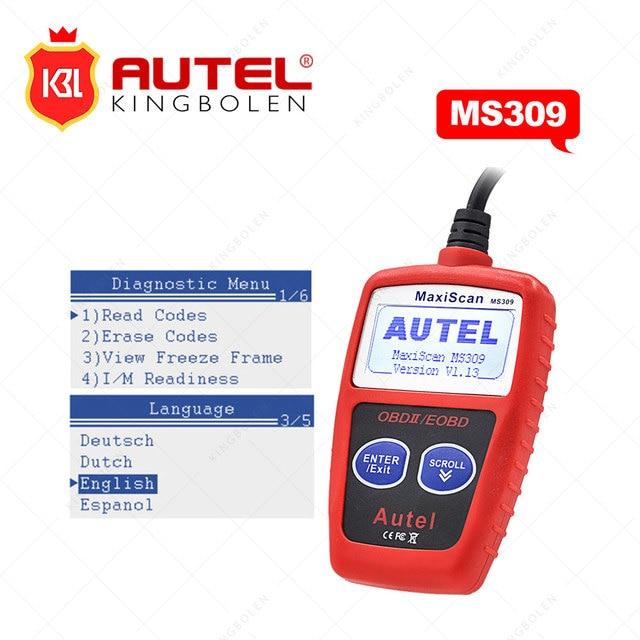 Autel MaxiScan MS309 CAN BUS OBD2 Code Reader EOBD OBD II Diagnostic Tool Autel MS309 Code Scanner Multi-language better elm327