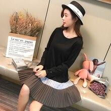 Новое весеннее платье для беременных женщин, корейское однотонное платье с длинными рукавами, большие размеры, Свободный Топ для беременных 126
