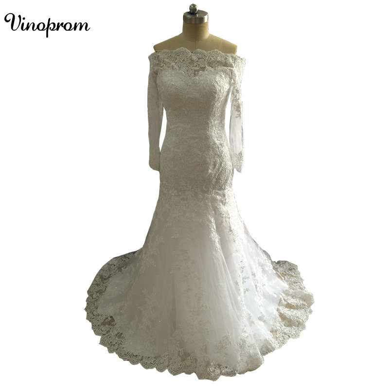 Mermaid Long Sleeves Appliques Tulle Zipper Real Photo Sweep Train Custom Made Wedding Bridal Gown Dresses 2017