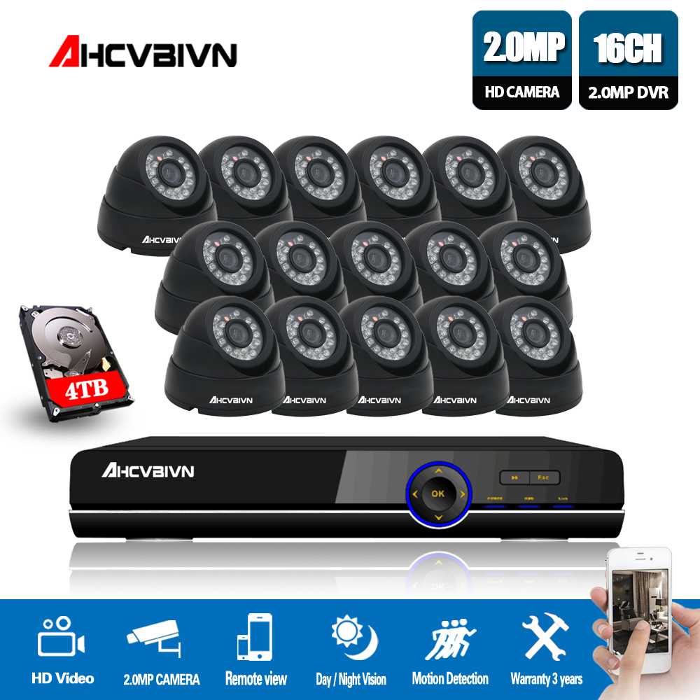 AHCVBIVN CCTV System 16CH AHD Kit HD Dome indoor 2.0mp 1080P Kameras mit IR CUT Home Surveillance System 16 kanal DVR Kit