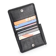 Black Cowhide Genuine Leather Money Clip w/ Coin pocket Business Credit Card Holders Small Slim Wallet Men billeteras Portfel