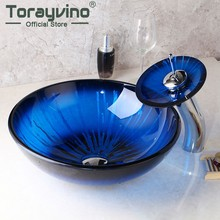 Torayvino Blue Round Tempered Glass Vessel Sink Mixer Deck Mounted Basin Faucets Set With Waterfall Faucet With Pop - Up Drain(China)