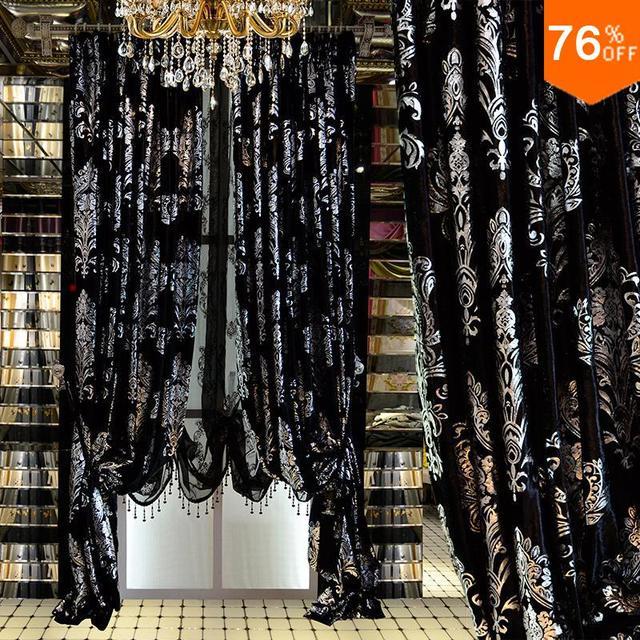Schwarz Vorhänge Silber Stickerei blackout vorhang Römischen ...