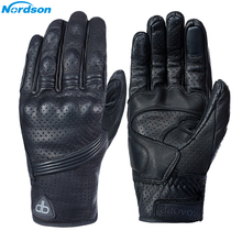 Nordson Retro Pursuit Real Leather Motorcycle Gloves Touch Screen Men Women Electric Bike Moto Glove