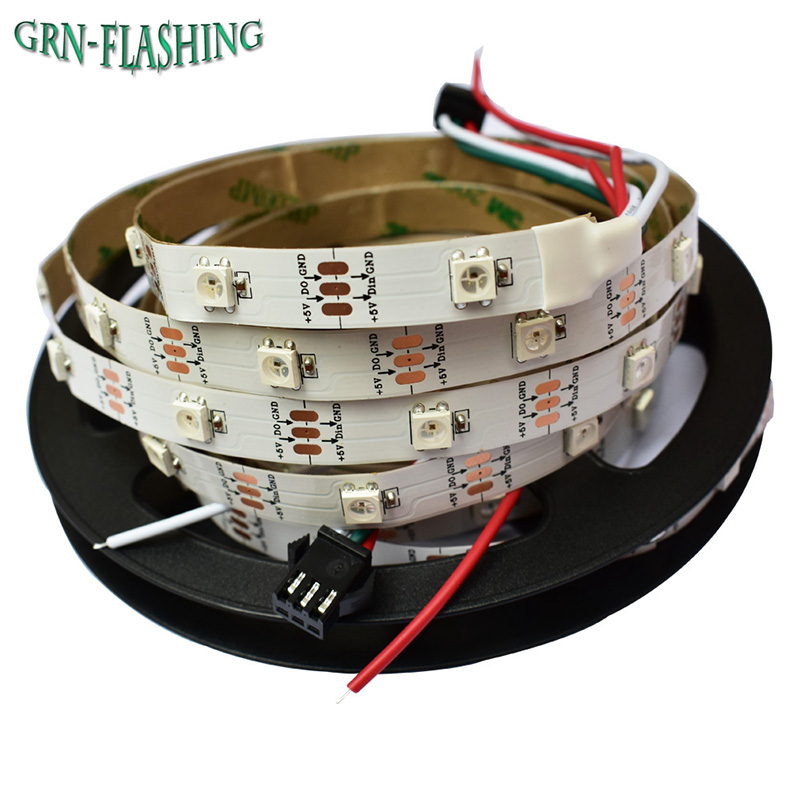 5m ws2812 RGB-LED-Streifenlicht SMD 5050 30leds / m IP20 weiß PCB DC5V 2812 IC Dream Magic Color flexibles Streifenlicht