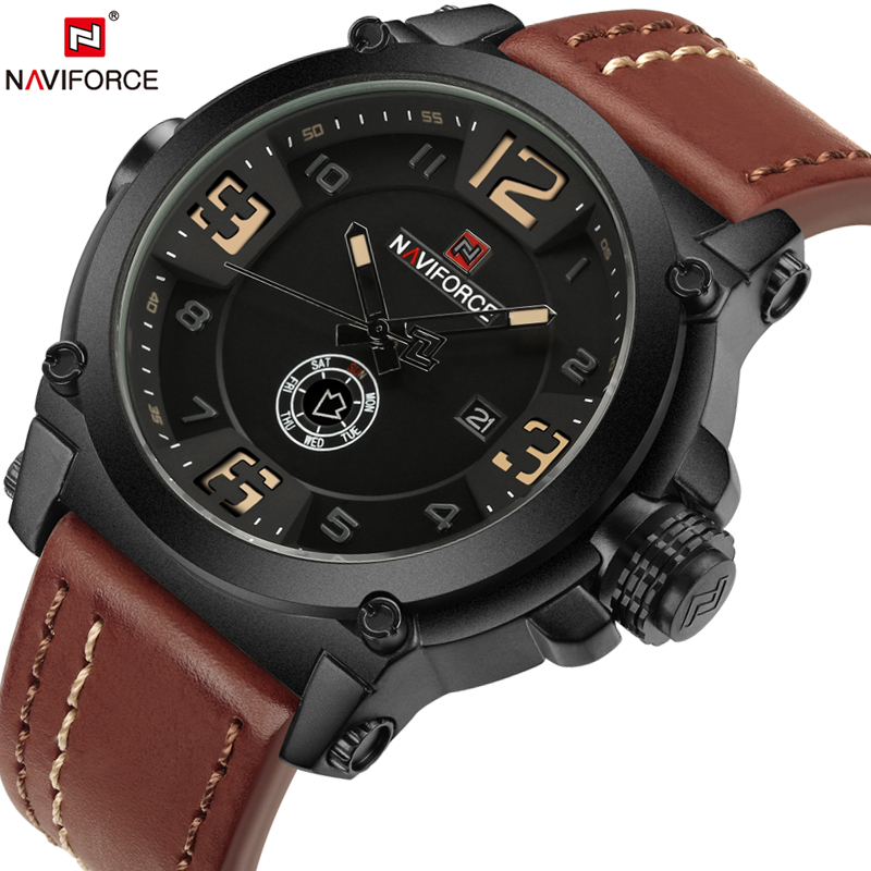 2017 Top Luxury Brand NAVIFORCE Men Sports Watches Mens Date Quartz Watch Clock Leather Military WristWatch Relogio Masculino 2017 top luxury brand skmei quartz watch men wristwatch clock male quartz watch mens military sports watches relogio masculino