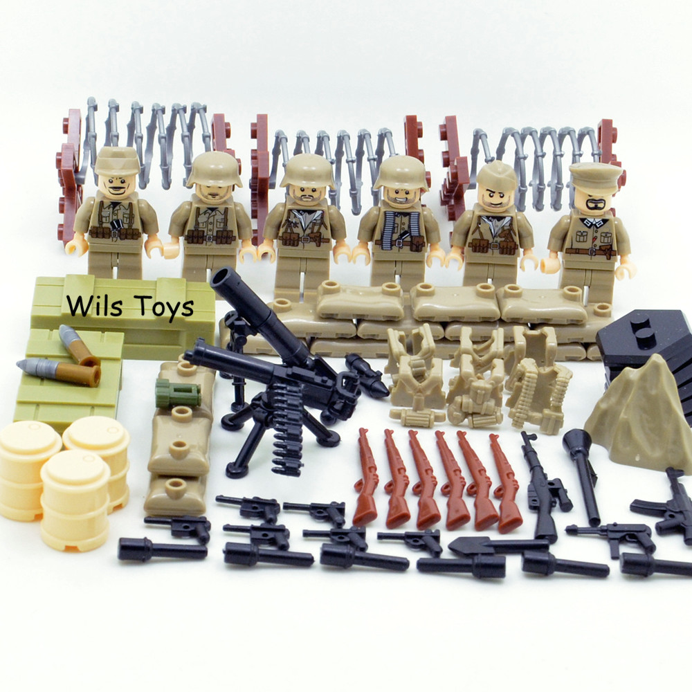 6pcs German Army World War Military Gun Weapon SWAT Soldiers Navy Seals Team Building Blocks Brick Figures Boy Toy Children Gift