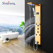 Senlesen מקלחת פנל מפל הגשמים ראש פלדה לשלושה ידיות חמה וקר מיקסר מים ברזי Para אמבטיה מקלחת