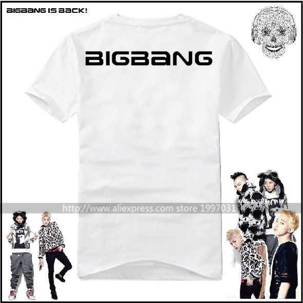 KPOP BIGBANG يج GD G-التنين TAEYANG لل T.O.P DAESUNG SEUNGRI V.I.P 4th البسيطة ألبوم الإفراج الجمجمة شعار قصيرة الأكمام تي شيرت